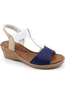Sandália Usaflex Napa Feminina - Feminino-Azul