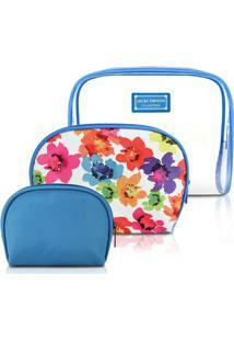 Kit Necessaire De 3 Unidades Jacki Design Microfibra + Pvc - Feminino-Azul