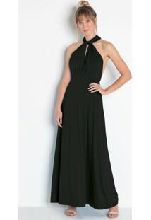 Vestido Longo Com Amarração Preta