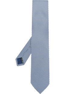 Salvatore Ferragamo Gravata Estampada Em Seda - Azul