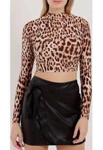 Blusa Cropped Feminina Animal Print Bege/Onça