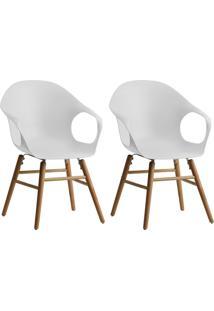 Conjunto Com 2 Cadeiras Beni Jade Com Braços Branco