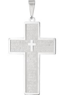 Pingente Cruz Pai Nosso Grande Em Prata 925 - Unissex