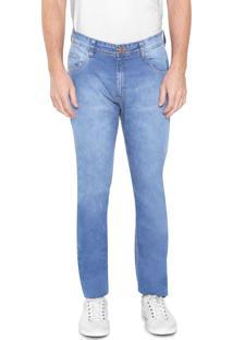 Calça Jeans Malwee Reta Estonada Azul