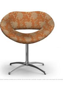 Cadeira Beijo Floral Marrom E Laranja Poltrona Decorativa Com Base Giratória