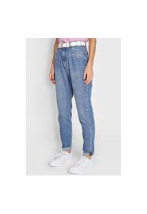 Calça Jeans Enfim Mom Tachas Azul