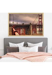 Quadro Love Decor Com Moldura Golden Gate Madeira Clara Grande