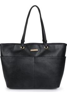 Bolsa Shopping Bag Via Uno Bolsos Preto Preto