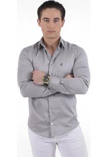 Camisa Social Super Slim Masculina - Masculino-Cinza