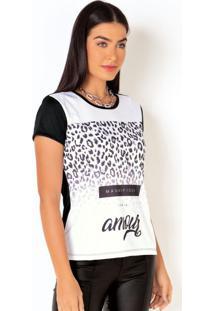 Blusa Preta E Branca Com Estampa Frontal