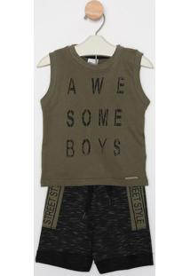 "Conjunto De Regata ""Awesome"" + Bermuda - Verde Militar &Time Kids"