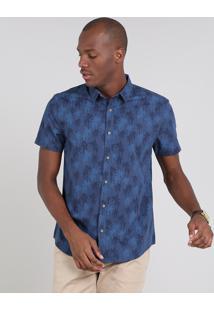 Camisa Masculina Comfort Estampada De Coqueiros Manga Curta Azul Marinho