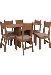 Conjunto De Mesa E 6 Cadeiras Para Sala De Jantar Milano Fosco-Poliman - Carvalho / Savana