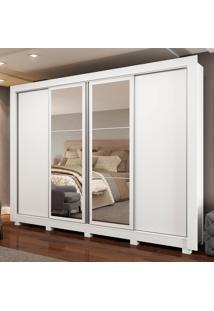Guarda-Roupa Casal Madesa Alabama 4 Portas De Correr Com Espelhos Com Pã©S Branco - Branco - Dafiti