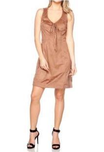 Vestido Rioutlet Suede Com Cadarços - Feminino-Marrom