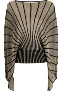 Stella Mccartney Suéter De Tricô Com Efeito De Brilho - Dourado