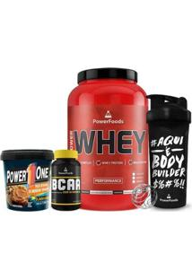 Kit Power Whey Pote + Powerbcaa + Pasta De Amendoim + Coqueteleira - Masculino