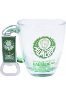 Kit Caneca De Vidro+Abridor De Garrafas 370Ml Palmeiras - Unissex-Verde