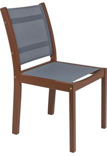 Cadeira De Madeira Tramontina 13871/076 Fitt Tela Cinza