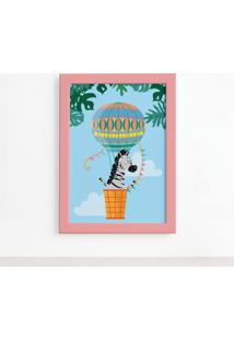 Quadro Infantil Zebra E Balão Moldura Rosa 22X32Cm