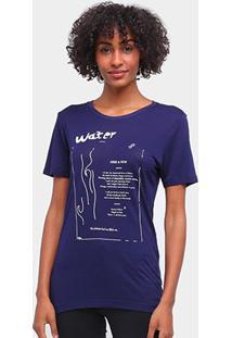 Camiseta Carmim Elementos Da Natureza Feminina - Feminino-Marinho