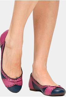 Sapatilha Couro Shoestock Brogues Bicolor Feminina - Feminino-Marinho