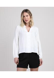 Blusa Feminina Maquinetada Com Botões Manga Longa Decote V Off White