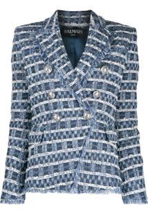 Balmain Tweed Double-Breasted Blazer - Azul