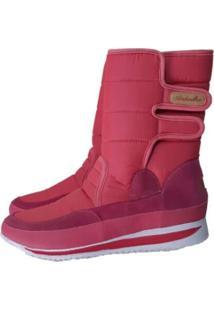 Bota Forrada Andarilha Neve E Frio Velcro Rosa