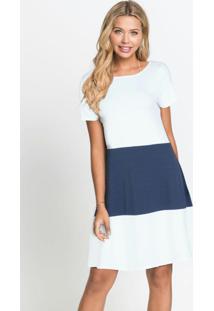 Vestido Básico Soltinho Branco/Azul