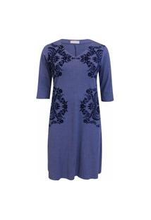 Vestido Pau A Pique 3/4 Silk Azul