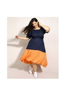Vestido Feminino Plus Size Mindset Midi Mullet Bicolor Manga Bufante Azul Marinho