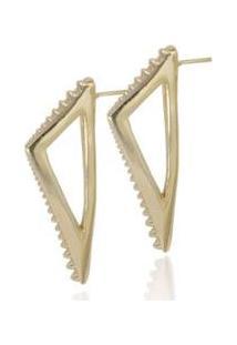 Brinco Folheado Semijoia Triângulo Com Spike Vazada - Feminino-Ouro