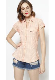 Camisa Listrada Com Bolso- Laranja- Intensintens