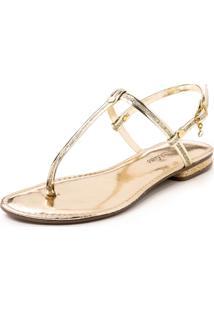 Rasteira Rosa Matte Tira Dourado Ouro Com Glitter