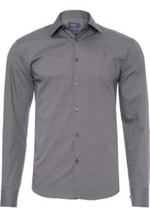 Camisa Masculina Casual Slim - Cinza