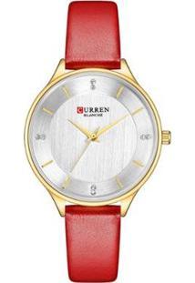 Relógio Curren Analógico C9041L Feminino - Feminino-Dourado+Vermelho