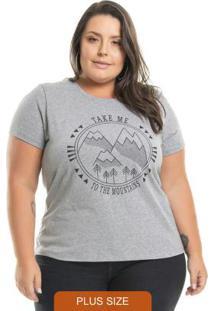 T-Shirt Estampada Mountains Cinza
