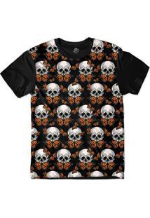 Camiseta Bsc Skull Butterfly Sublimada Preto