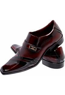 Sapato Social Verniz Gofer Couro - Masculino-Vermelho