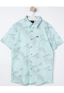 Camisa Com Folhagens- Verde Água & Cinza- Bilitonbiliton