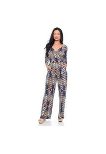 Macacão Pantalona B'Bonnie Florence Geométrico Azul