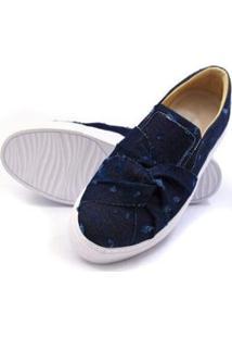 Sapatênis Casual Lucilena Calcados.Net Em Tecido Jeans Feminino - Feminino-Azul Escuro
