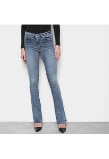 Calça Jeans Calvin Klein Flare Estonada Feminina - Feminino-Azul Claro