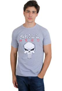 Camiseta Skill Head Punisher - Masculino-Cinza