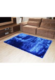 Tapete Elsa Retangular Shaggy 200X250 Cm Azul