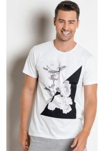 Camiseta Branca Com Estampa Rosas