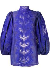 Zimmermann Blusa Brightside Bordada - Azul