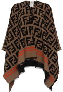 Fendi Xale De Lã Com Logo 'Ff' - Marrom