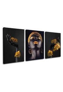 Quadro 80X120Cm Mulheres Negras Máos Douradas Beltza Canvas